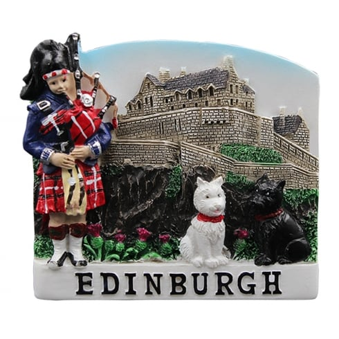 EastWest Resin Magnet With Scottish Castle, Bobby and Bagpiper