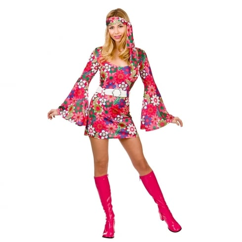 Wicked Costumes Retro Go-Go Girl - Flower Print Small