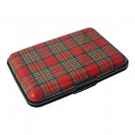 RFID Blocking Red Tartan 6 Bank Card Holder