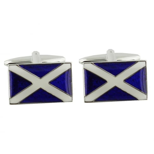 Harvey Makin Rhodium Plated Scottish Flag Cufflinks