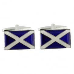 Rhodium Plated Scottish Flag Cufflinks