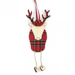 Ronnie the Reindeer Royal Stewart Hanging Decoration