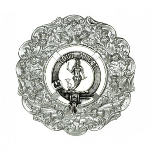 Art Pewter Rose Clan Crest Plaid Brooch