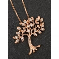 Rose Gold Plated Diamante Tree Of Life Necklace