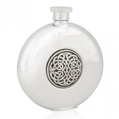 Round Hip Flask With Celtic Design