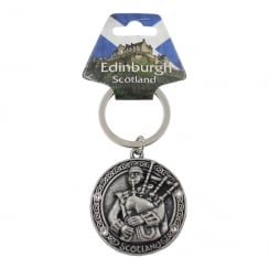 Round Shaped Metal Keyring Embossed With Bagpiper