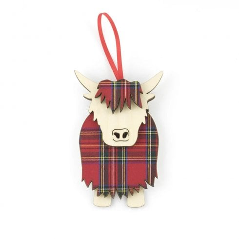 Artcuts Royal Stewart Hamish the Highland Cow Hanging Decoration