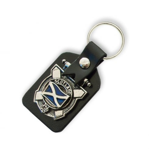 Art Pewter Saltire ((Scotland flag)) Clan Crest Key Fob