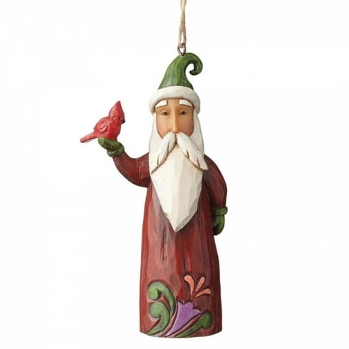Jim Shore Heartwood Creek Santa With Cardinal Hanging Ornament