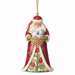 Santa With Cat In Basket Hanging Ornament