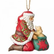 Santa With Dog In Bag Hanging Ornament