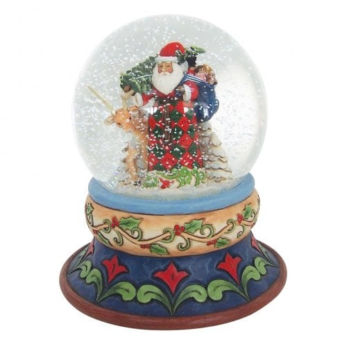 Jim Shore Heartwood Creek Santa With Tree And Toybag Waterball Figurine