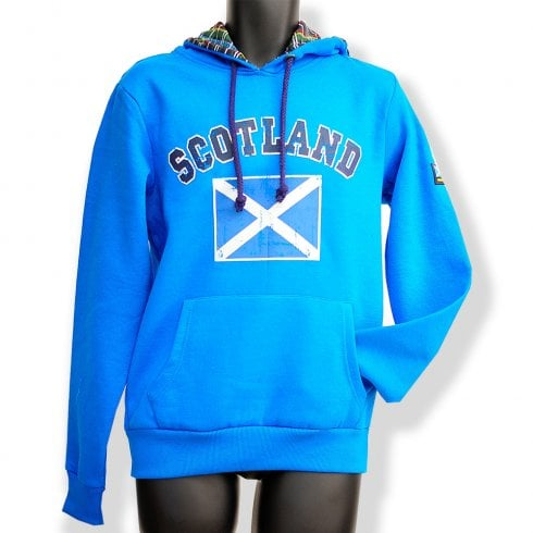 Wallace Of Scotland Saphire Blue Saltire Flag Mens Distressed Hoodie LARGE