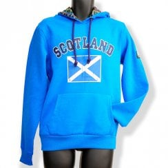 Sapphire Blue Saltire Flag Mens Distressed Hoodie XLARGE