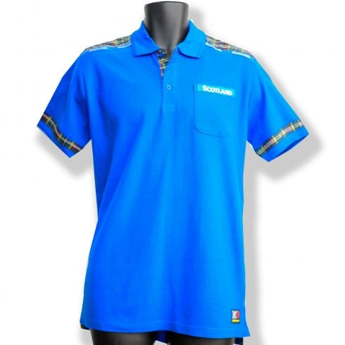 Wallace Of Scotland Sapphire Blue & Tartan Mens Polo Shirt LARGE
