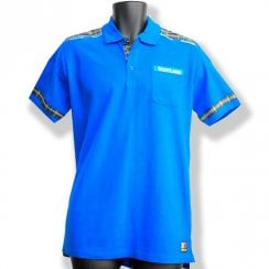 Sapphire Blue & Tartan Mens Polo Shirt MEDIUM