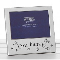 Satin Silver Our Family Photo Frame