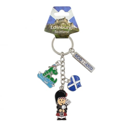 EastWest Scotland Charm Keyring With Bagpiper, Nessie, Scotland Heart