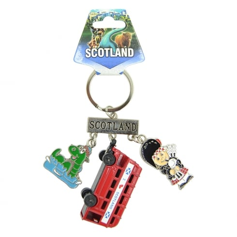 EastWest Scotland Charm Keyring With Die Cast Bus, Bagpiper and Nessie