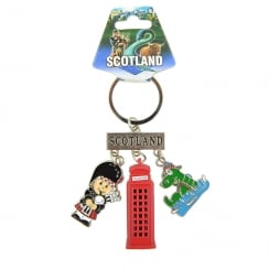 Scotland Charm Keyring With Die Cast Telephone and Bagpiper