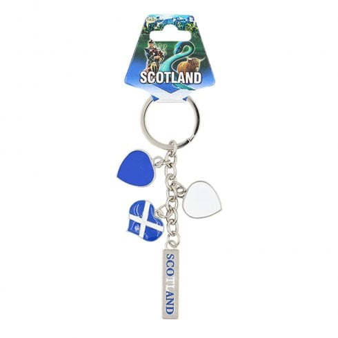EastWest Scotland Charm Keyring With Three Scottish Flag Hearts