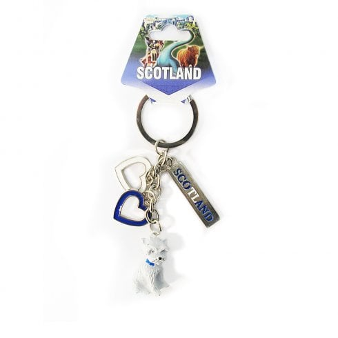 EastWest Scotland Charm Keyring With Two Hearts And 3D Greyfriars Bobby