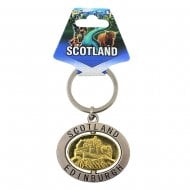 Scotland/Edinburgh Spinner Keyring with Piper and Castle