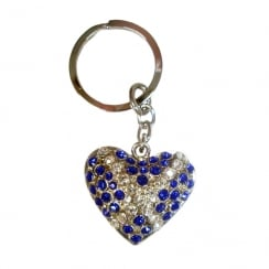 Scotland Flag Diamante Heart Keyring