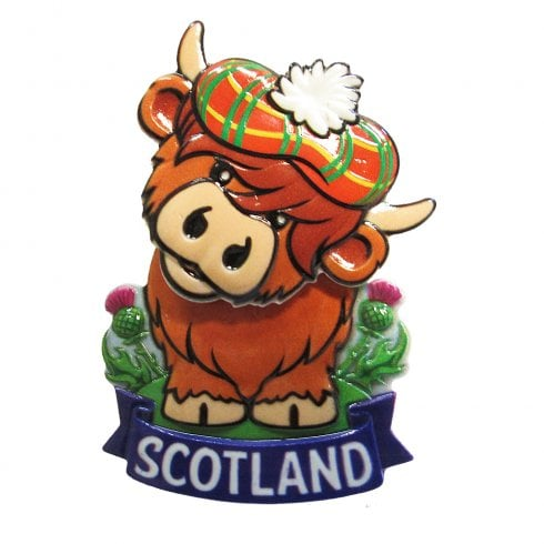 Elgate Scotland Highland Coo Springy Printed Resin Magnet