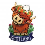 Scotland Highland Coo Springy Printed Resin Magnet