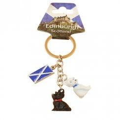 Scotland Keyring With 3D Charms of Scottie Dog and Westie
