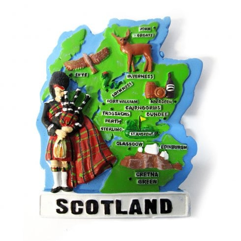 EastWest Scotland Map And Bagpiper Magnet