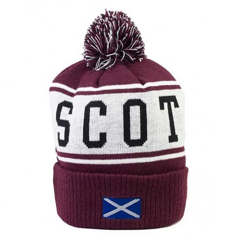 International Insignia Limited Scotland Pom Pom Ski Hat Maroon