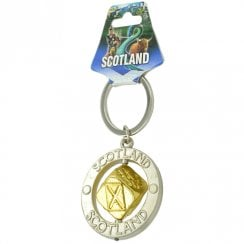 Scotland Spinner Keyring with Gold Colour Dice
