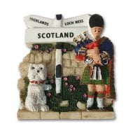 Scots Piper With Westie & Sign Resin Magnet