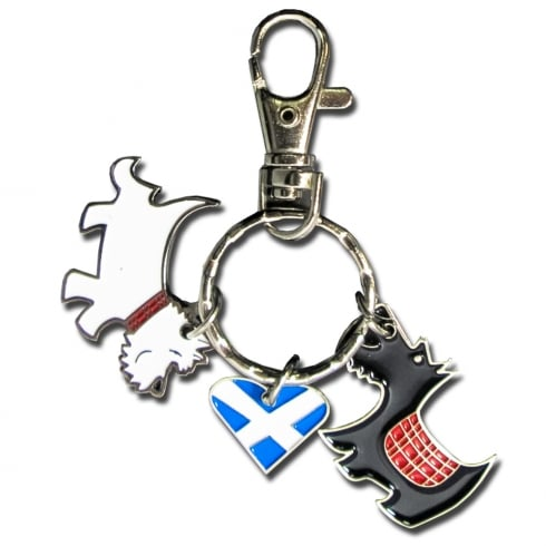 Thistle Products Ltd Scottie Dog & Heart Keyring