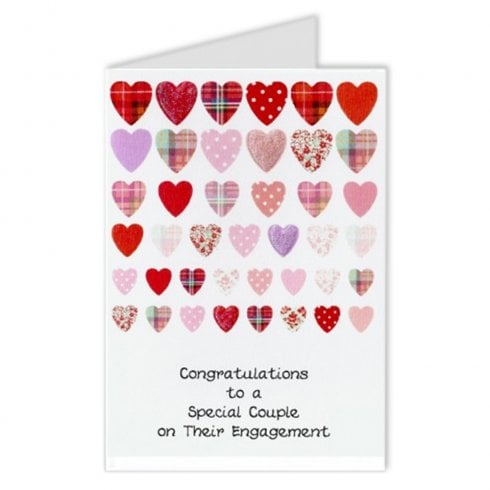 Embroidered Originals Scottish Rows of Hearts Engagement Card
