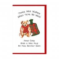 Scottish Tartan Teddy Hot Water Bottle Get Well Soon Card