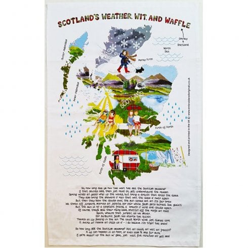 Embroidered Originals Scottish Tea Towel - Scotlands Weather Wit And Waffle