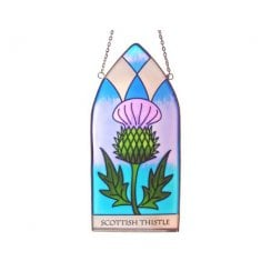 Scottish Thistle Gothic Stained Glass 20cm