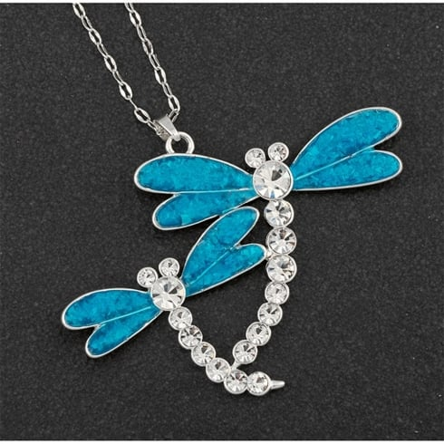Equilibrium Sea Breeze Dragonfly Long Silver Plated Necklace
