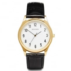 Gents Gold Plated Water Resistant Quartz Watch 3623