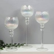 Set Of 3 Clear Glass Goblet Style Candleholders