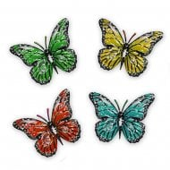 Set of 4 Small Metal Butterfly Home Garden Plaques Wall Art