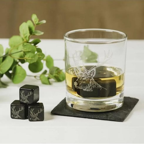 The Just Slate Company Set of 6 Stag Engraved Whisky Stones