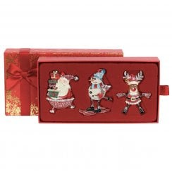 Set Of Three Sparkle Christmas Decorations - Red Box