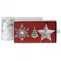 Set Of Three Sparkle Christmas Decorations - White Box