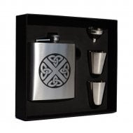 Shamrock Clan Crest 6oz Hip Flask Box Set (S)
