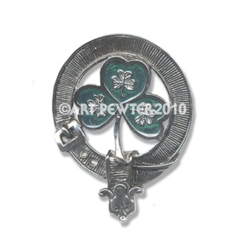 Art Pewter Shamrock ((green enamel finish)) Clan Crest Key Fob