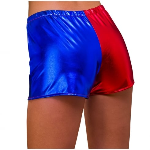 Wicked Costumes Shiny Hot Pants Red and Blue Small